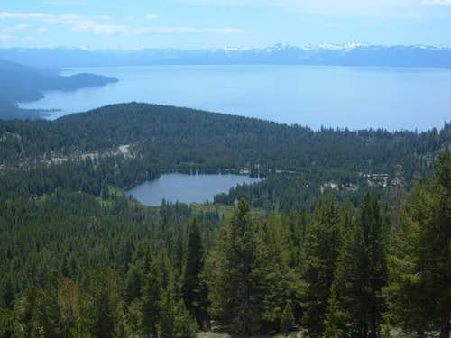 Incline Lake with Lake Tahoe behind