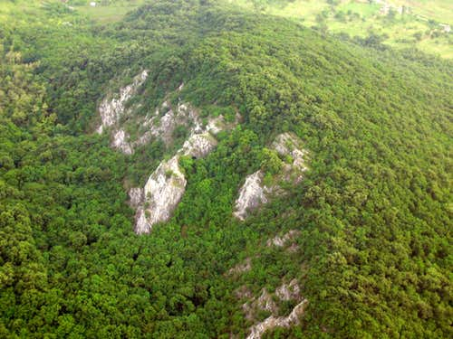 Hungarian sport climbing area from above