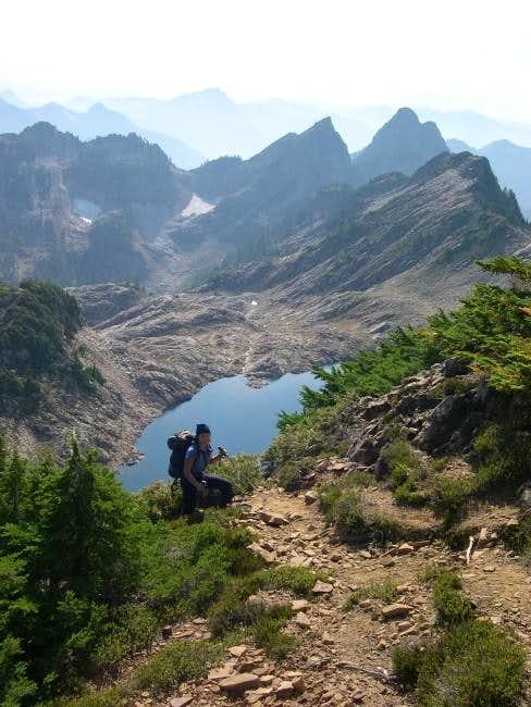 Hiking up the climbers' trail...