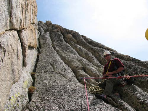 Tom at the 2nd Belay