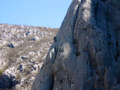Climbers on Anica Kuk's Stup