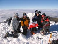 Team at the summit of Cotopaxi