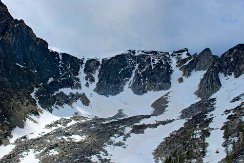 Closeup of Trapper Peaks NE Couloirs