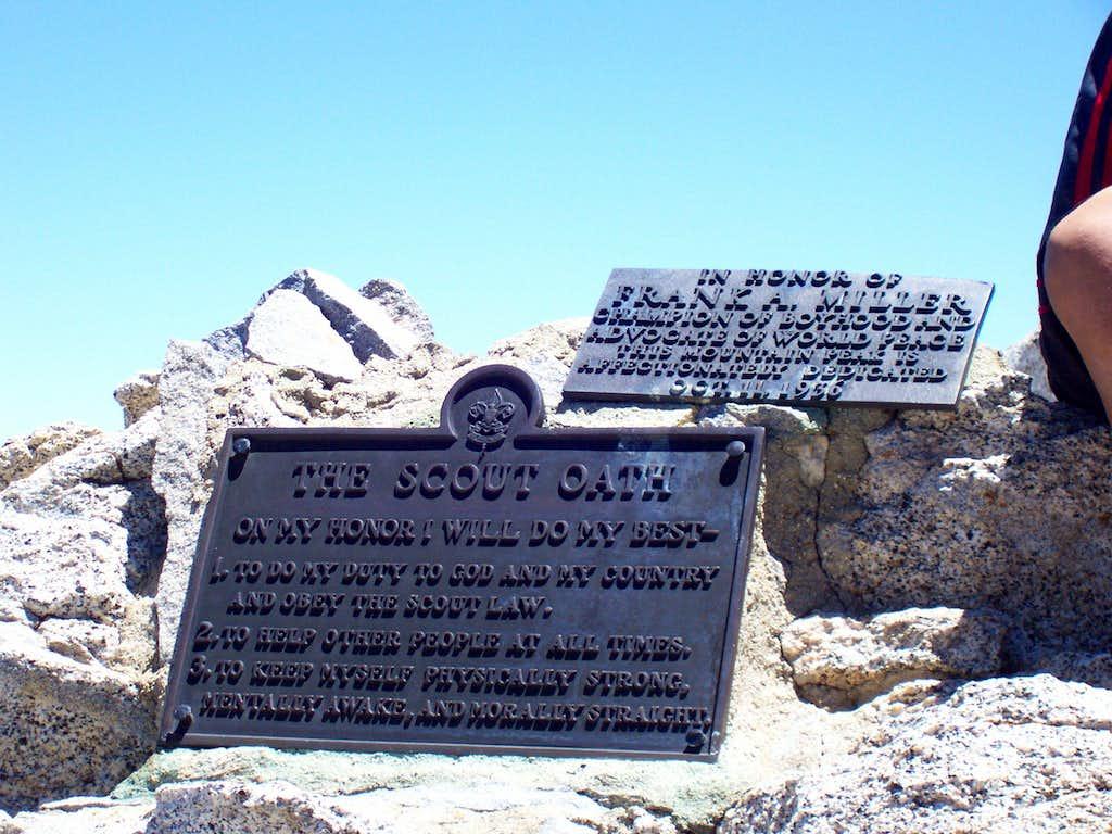 Summit block plaque