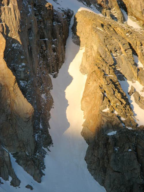 Dawn Light in a Couloir on Picture Peak's north face