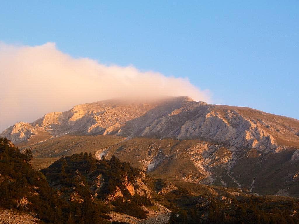 Mount Vihren as seen from the hut