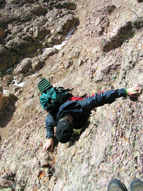 Dirk Anderson downclimbing the difficulties of Half Peak\'s North East Ridge