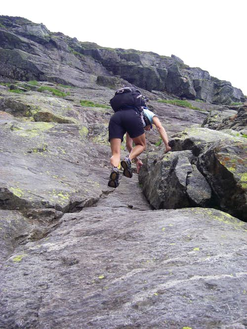 Heading up the slab - Huntington Ravine