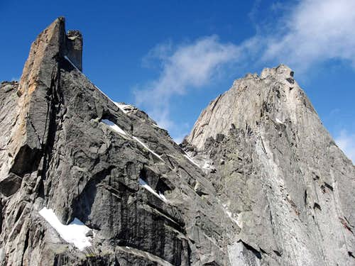 Punte Sertori(left) and Pizzo Badile(right).The bivouac