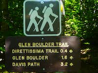 Trail sign for Glen Boulder for trip report only