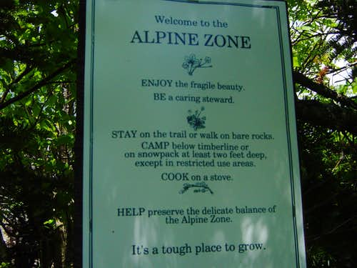 alpine zone sign for trip report purposes