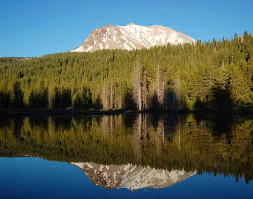 Lassen Peak and reflection from Hat Lake