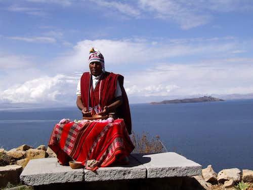 Shaman on sun island, Lago Titicaca