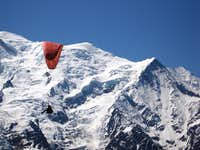 Paraglider and Mont Blanc