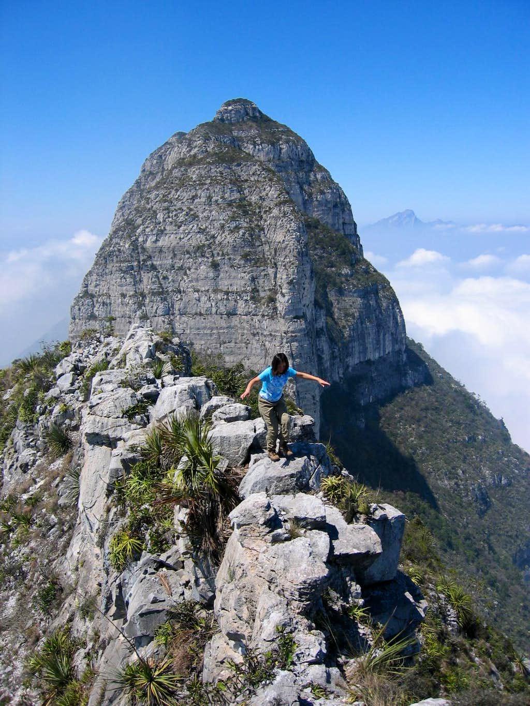 Traversing the final summit ridge