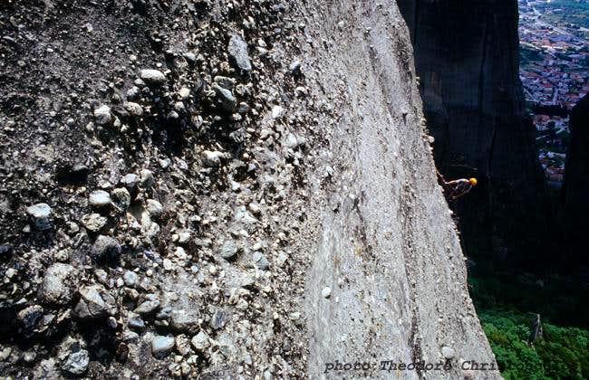 Typical slab climbing in Meteora.
