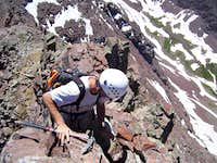 Downclimbing the South Ridge on Thunder