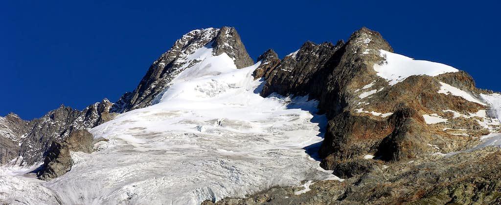 Mont Dolent (3823m) and Mont Grapillon (3576m), south side