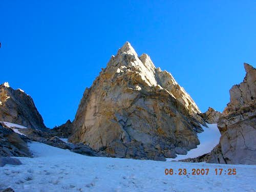 Matterhorn Peak, CA:  East Couloir (left), North Arete (center), West Couloir (right)