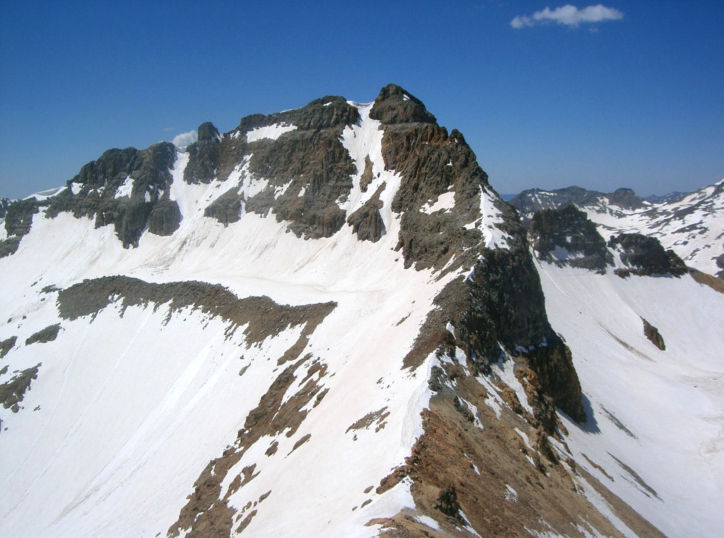 """V 8"", Beattie Peak, Fuller Peak, Vermilion Peak & Golden Horn"