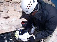 Bob signing the summit register