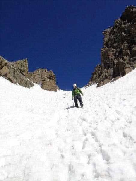 Descending upper couloir on Mt. Sneffles