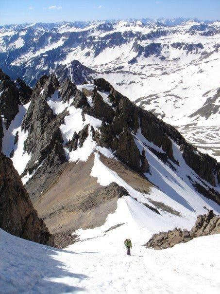 Climbing up the upper couloir