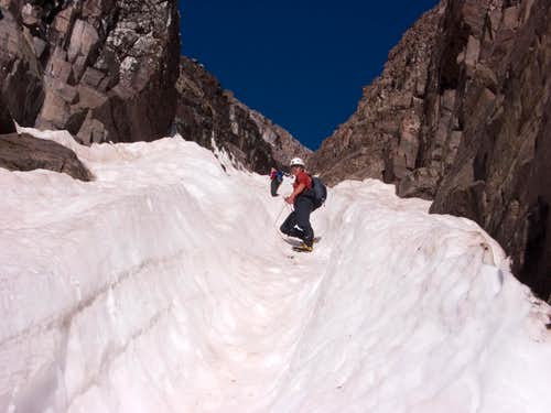 Ascending the Upper Bell Cord Couloir