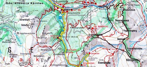 Map of the western Koenigstuhl area