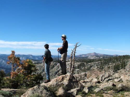 Von and Tom overlook Summit City Canyon - Mokelumne Peak to right