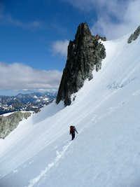 On Daniel Glacier, with the Spire on the SE ridge