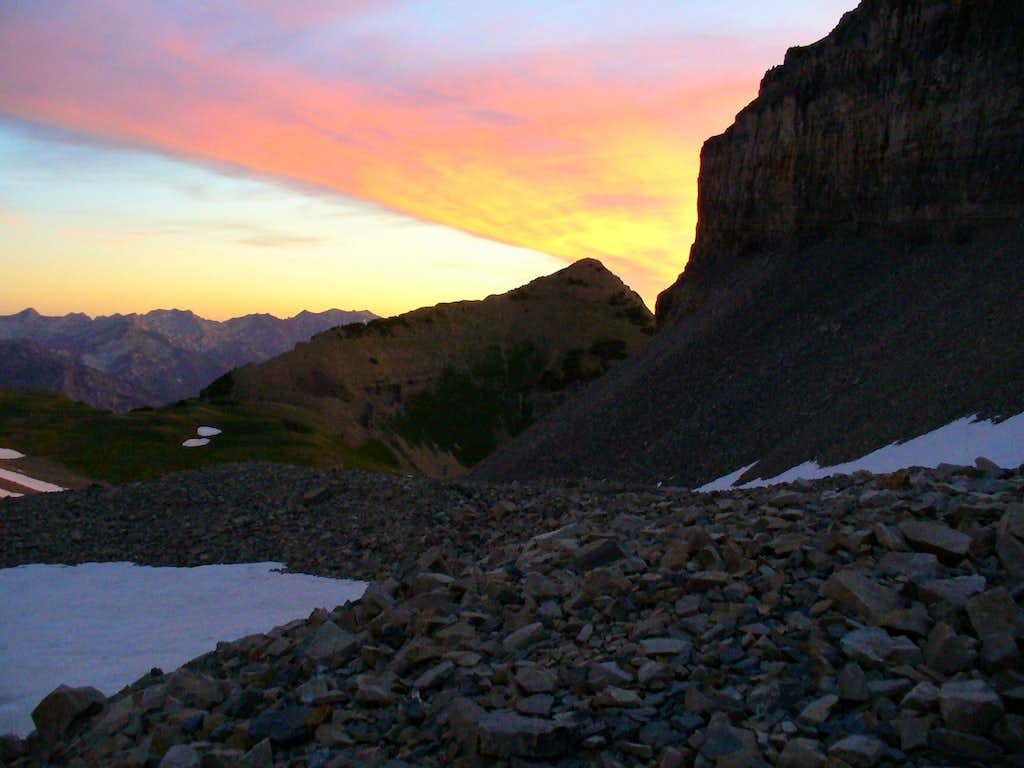 First rays of dawn caress Central Wasatch peaks