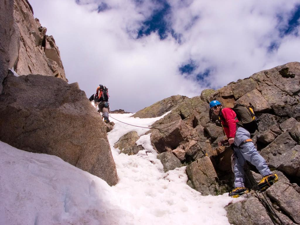Starting the upper part of the Notch couloir