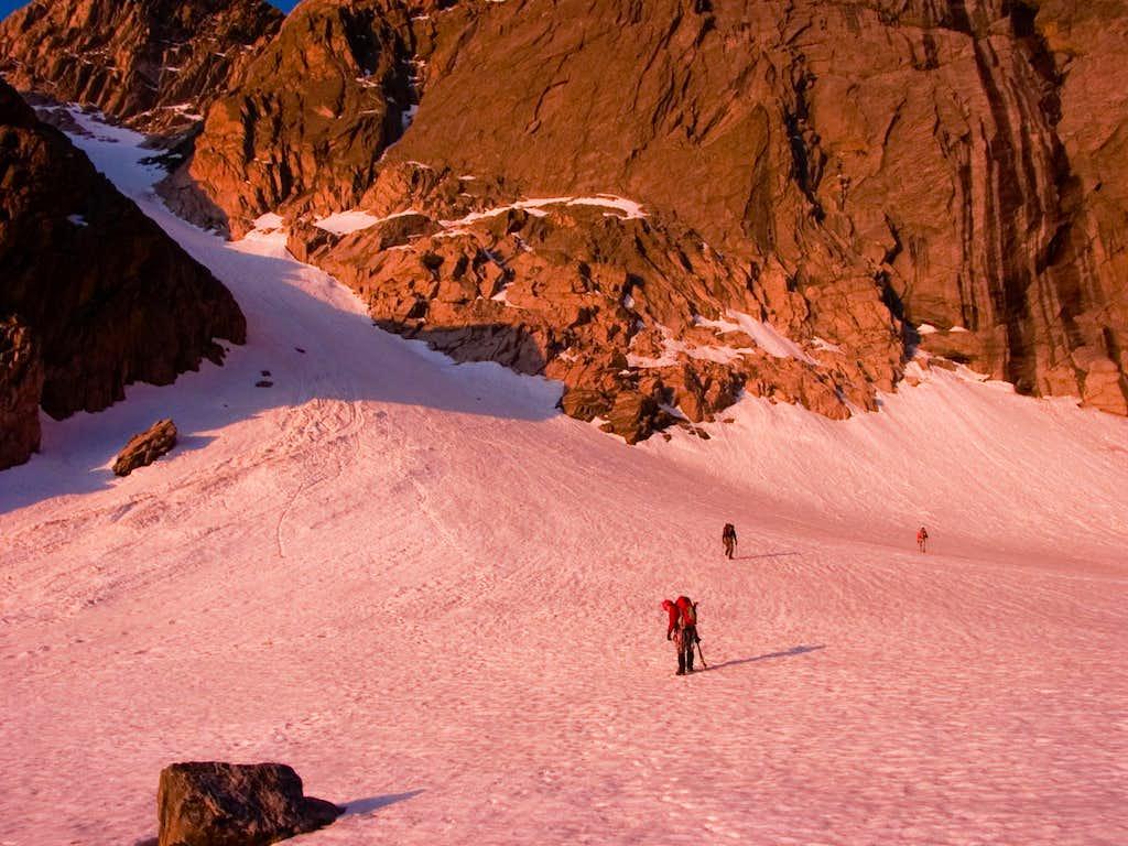 Morning alpine-glow on Mills Glacier