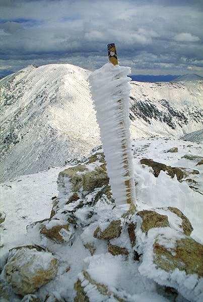 The summit marker on Mt...