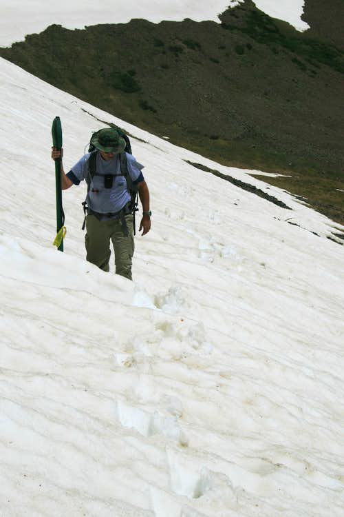 crossing the last snowfield on the ridge