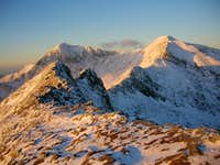 Crib Goch ridge with Snowdon behind