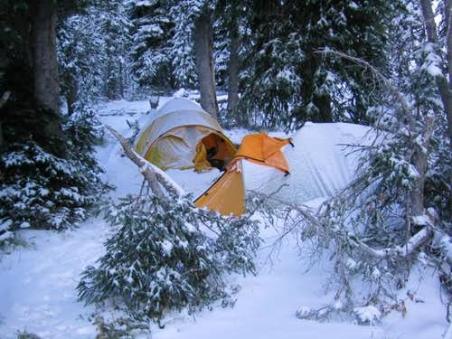 Bonus snow camping, on the...