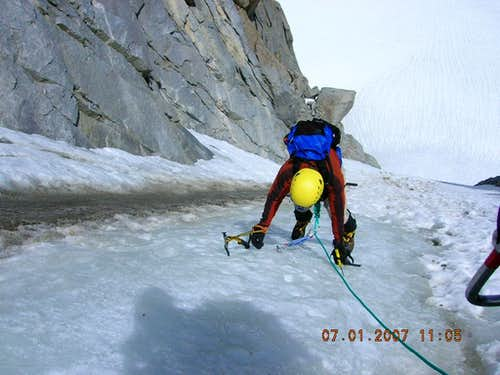 Rick Kent climbing ice on the V-Notch