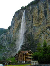 Waterfall over Lauterbrunnen hotel