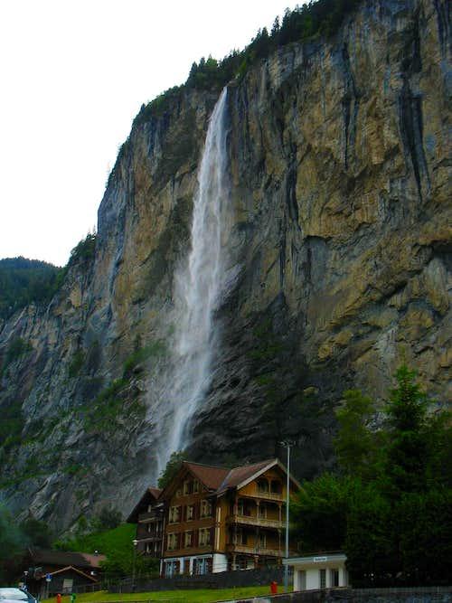 Waterfall over Lauterbrunnen hotel