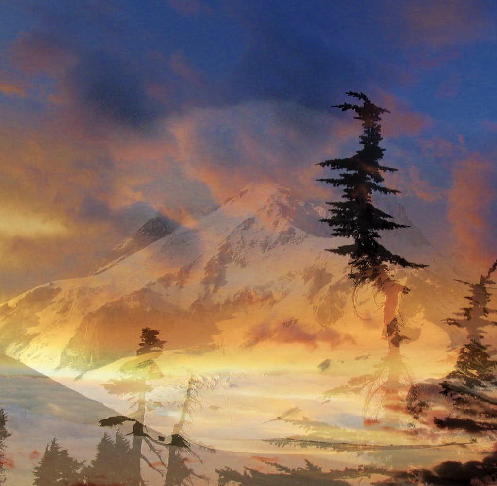 Clouds, Trees & Snowdome, Mt. Hood, USA