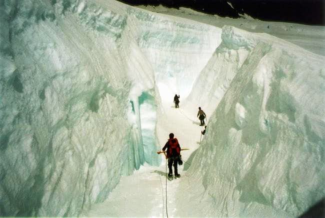A very large crevasse on Mt....