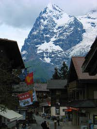 Eiger over town of Murren