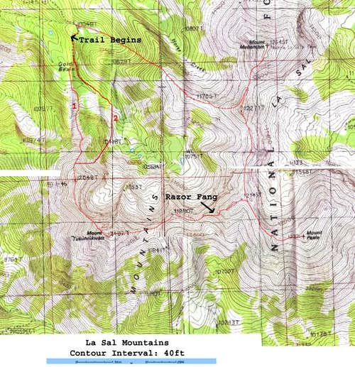 A topographic map with the...