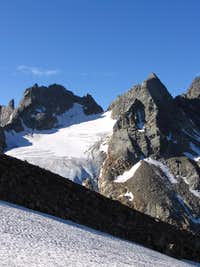 Snow slope on the morain of Scerscen glacier