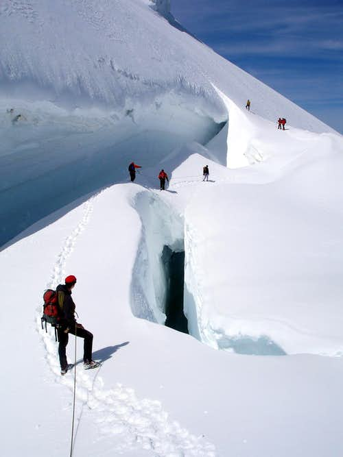 Crevasse on Mt  Blanc du Tacul