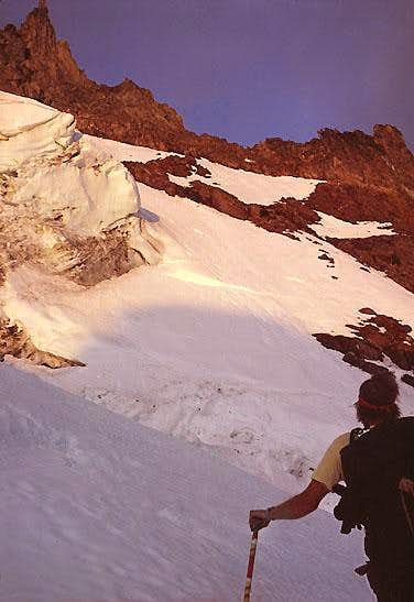 First light on the headwall<br>Jefferson Park Glacier Route