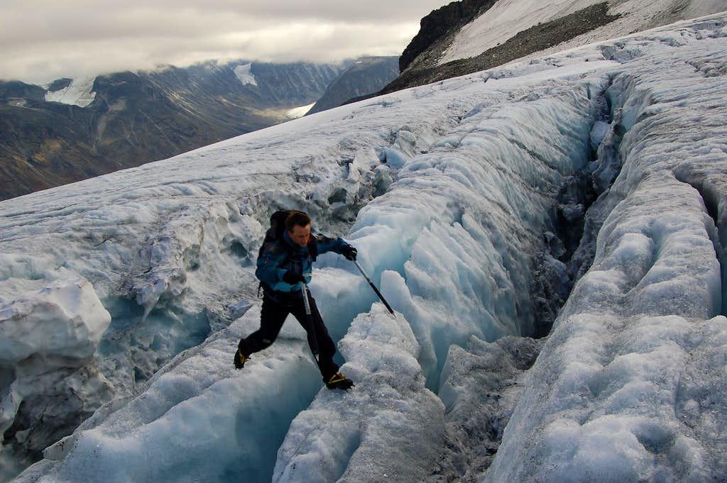 Jumping crevasses on the Svellnosbrean Glacier