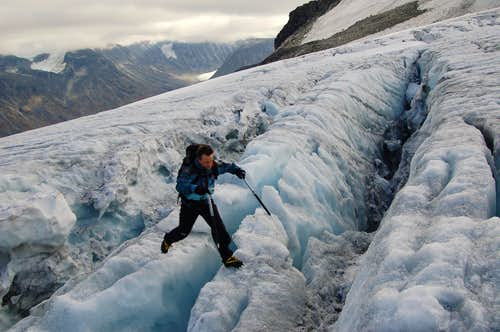 Jumping crevasses on the Svellnosbrean Glacier